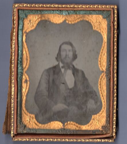 Vintage Photograph PHOTO Ambrotype 1800s Man with Beard ANTIQUE