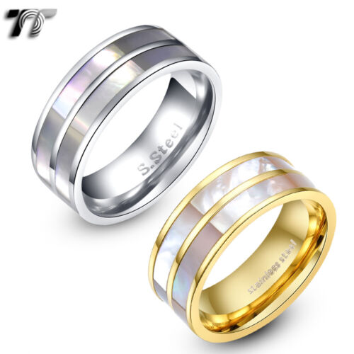 TT 14K Gold GP Stainless Steel Mother Pearl Comfort Wedding Band Ring (R190)NEW