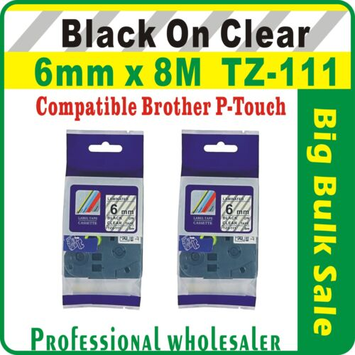 6mm x 8m Brother Black on Clear Compatible TZ-111 P-Touch Laminated Label Tape