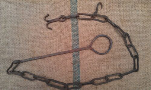 ANTIQUE 19TH CENTURY HEARTH FIREPLACE COOKING CHAIN TRAMMEL HOOK