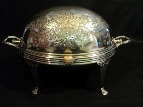 WALKER & HALL ENGLISH SILVER PLATED ROLLING DOME BREAKFAST / BUFFET SERVER (#6)