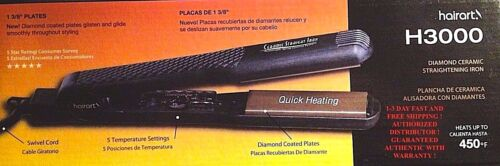 HAIRART H3000 NEW DIAMOND IONIC 450 F  FLAT /CURLING IRON - 1 3/8 INCH  110V