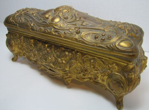 Antique Art Nouveau B&W Brainard Wilson Casket Box lovely maidens cherubs Ornate