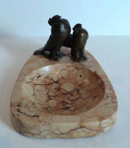 """NICE ANTIQUE ART DECO MARBLE DISH / TRAY, MOUNTED BRONZE """"TURTLE DOVES"""""""