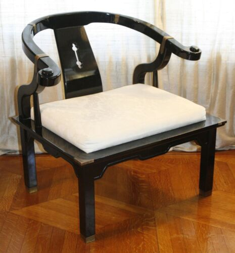 Vintage Black Lacquer Chinese Horseshoe Lounge Chair. Modern James Mont Style