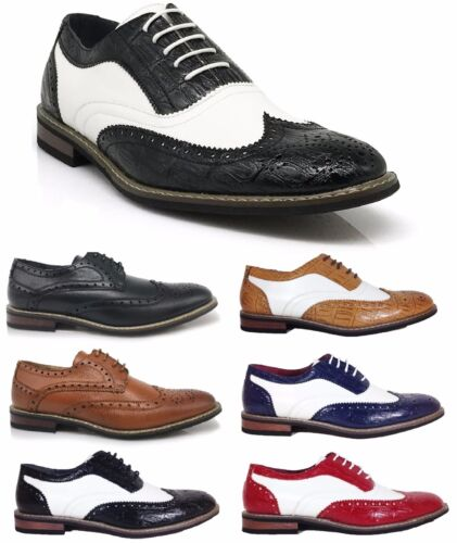 Parrazo Men Dress Shoes Wingtip Oxford Leather Line Lace Up Formal Conrad