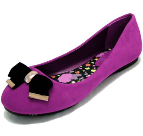 New women's shoes purple ballet flat ballerina suede like black bow casual