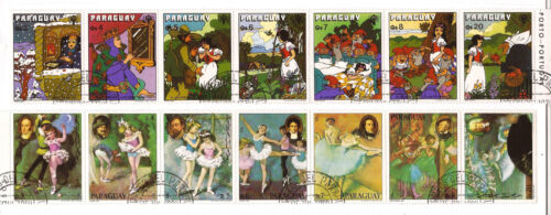 PARAGUAY  Grimm's snow white & the seven dwarfs, painting of young ballerinasC28