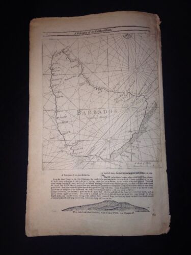 The English Pilot 18th Century Barbados Map - John Sellers - Virginia, Maryland