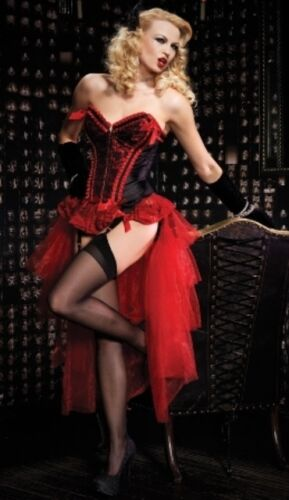 Burlesque Sexy Showgirl Red Corset + Layered Bustle Skirt - Costume Lingerie