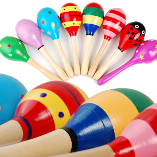 Kids Gift Cute Sand Hammer Rattle Musical Instrument Percussion Wooden Ball Toy