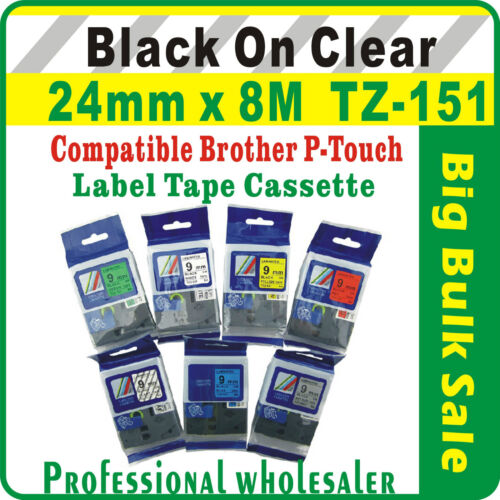 24mm x 8m  Brother Black on Clear Compatible TZ-151 P-Touch Laminated Label Tape