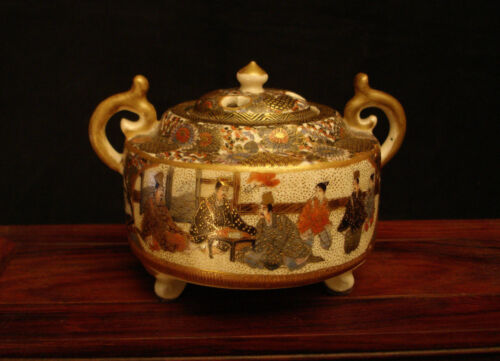 "3 1/4"" H MARKED Gyokuzan JAPANESE MEIJI SATSUMA CENSER KORO INCENSE BURNER"
