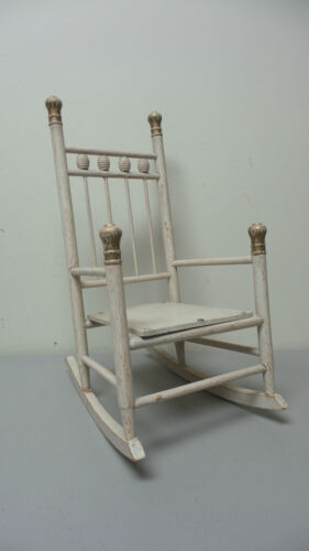 """ANTIQUE HAND MADE PRIMITIVE 16"""" HIGH DOLL'S ROCKING CHAIR"""
