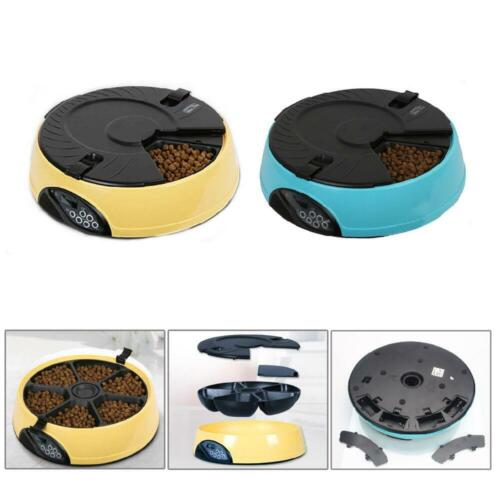 6 Meal Timed Automatic Pet Feeder Auto Dog Cat Food Bowl Dispenser Programmable