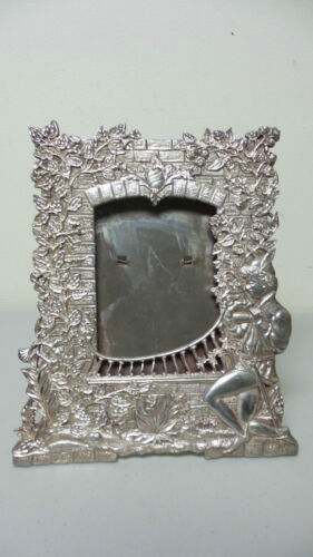 "RARE ANTIQUE VICTORIAN SILVER PLATE PICTURE FRAME ""ROMEO AT BALCONY"" c. 1894"
