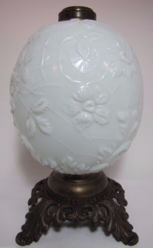 Antique 19c Victorian Milk Glass Spider Web Oil Lamp FG Co cast iron base ornate