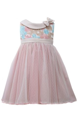 Bonnie Jean Girls Multi Colored Lace Flower Special Occasion Baptism  2T 3T 4T