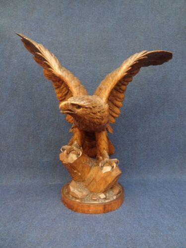 "Black Forest Eagle spread wings, large statue nearly 25""high, very impressive"