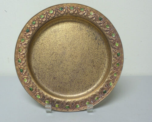 "LOUIS C. TIFFANY FURNACES GILT DORE BRONZE 10"" PLATE, GREEN FAVRILLE INSERTS"