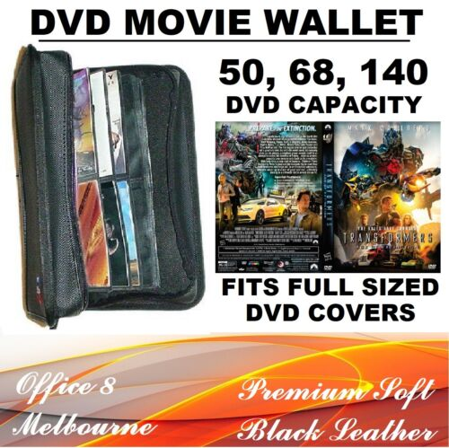 PREMIUM 50 68 140 200 DVD Wallet Leather Folder Movie Binder DVD Plastic Sleeves