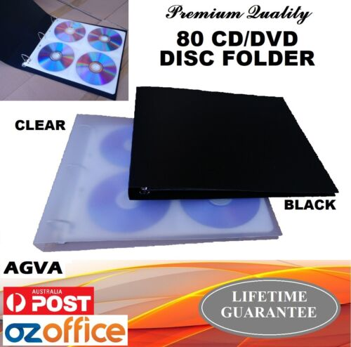 AGVA PREMIUM 80 CD DVD Disc Binder Sleeve Folder Wallet Clear w/ Durable Sleeves