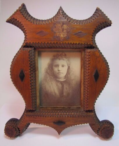 Antique Tramp Art Frame nice layered wood flowing curves unique old folk art