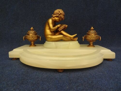 INKWELL SEATED CUPID GILT BRONZE MOUNTED ONYX 1860-1900 ENCRIER FRENCH NIII