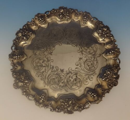 Hw & Co. English Sterling Silver Salver Tray w/Grapes Footed Circa 1849 (#0376)