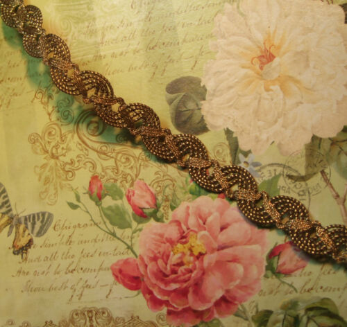 """Antique vintage heavy weighty gold bronze metal braid lace trim lampshade 1/2"""""""