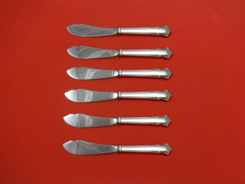 English Shell by Lunt Sterling Silver Trout Knife Set 6pc HHWS  Custom Made