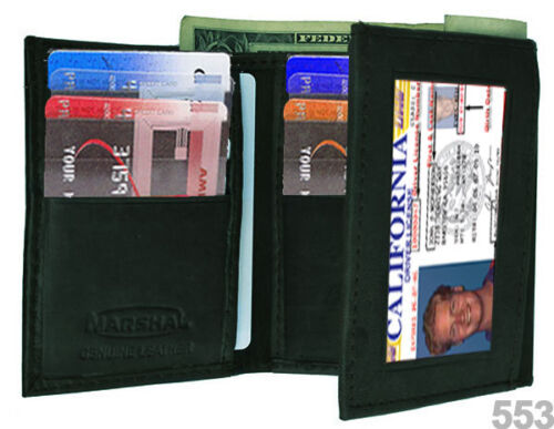 BLACK MEN's GENUINE SOFT LEATHER ID WINDOW 12 SLOTS CREDIT CARDS TRIFOLD WALLET
