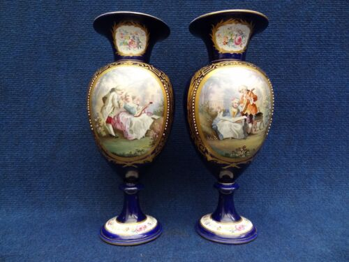 SEVRES STYLE BLUE JEWELLED VASES WITH ROMANTIC PANELS 1850-1890 FLOWER PANELS