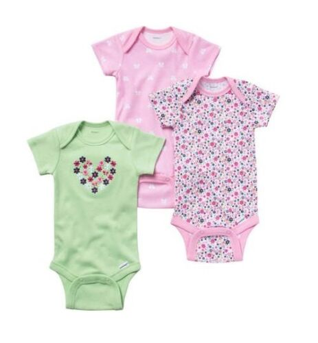 Gerber 3-Piece Girl Onesies Pink/Green Heart Flowers Size 3-9M BABY CLOTHES GIFT