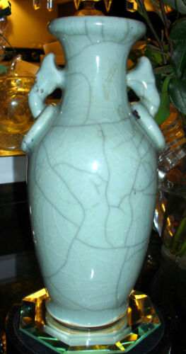 CHINESE CELADON TWO HANDLED CRACKLE VASE