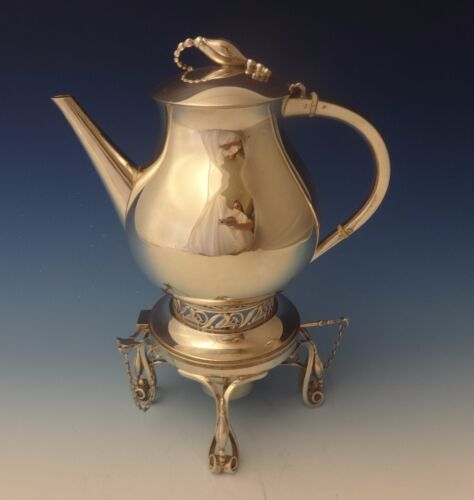 """Blossom by Durham Sterling Kettle On Stand w/3-D Blossom Finial 12 1/2"""" (#0092)"""