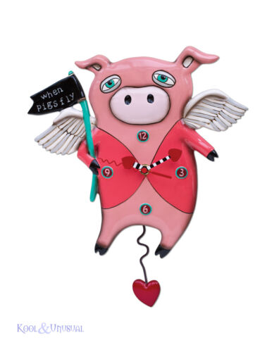 Quirky Pink WHEN PIGS FLY Pig Designer Wall Clock by Allen Designs