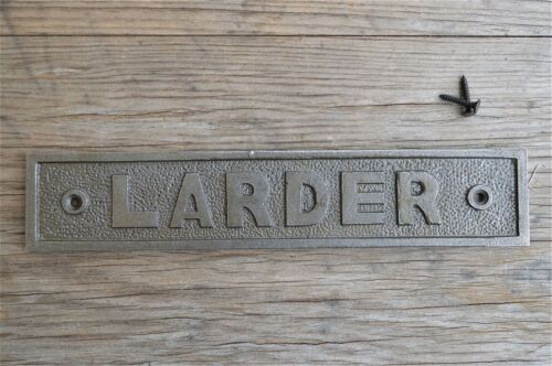 LARGE VINTAGE STYLE CAST IRON LARDER SIGN DOOR PLAQUE WALL SIGN LP1