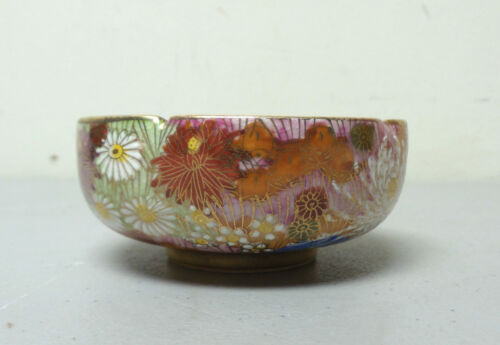"BEAUTIFUL ANTIQUE JAPANESE SATSUMA POTTERY ""1000 FLOWERS"" SMALL BOWL, SIGNED"