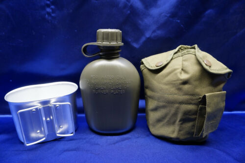 NEW US Military Style Tactical Survival OD Green 1QT Water Canteen Cover Cup Set