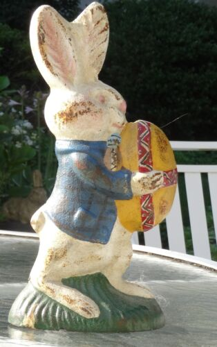 Peter Rabbit Easter Egg Painted Doorstop SUPER RARE Pittsburg Foundry Vintage
