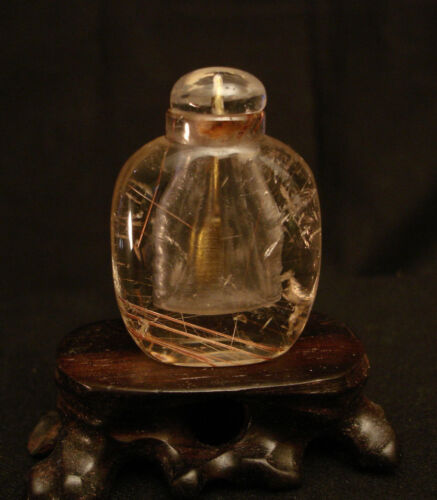 "VINTAGE CHINESE GOLD HAIR RUTILATED QUARTZ SNUFF BOTTLE 1 7/8"" HIGH"