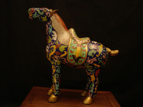 "10"" WIDTH VINTAGE CHINESE CLOISONNE HORSE"