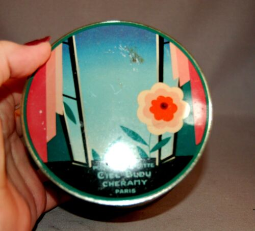GORGEOUS VINTAGE Art Deco French Tin Chel Bleu Paudre de Toilette Paris!
