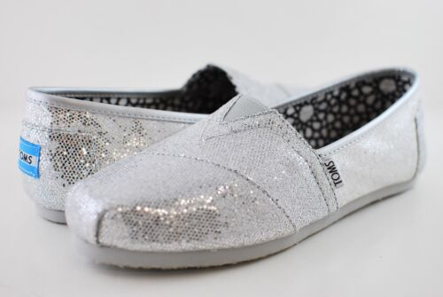 New Authentic Women Silver Glitter Toms Shoes