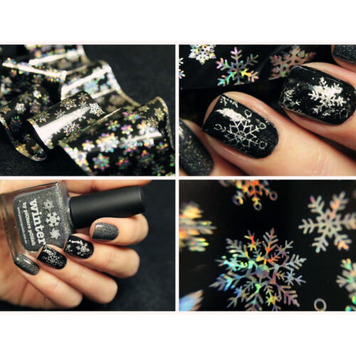 Holographic Nail Art Transfer Foils Sticker Christmas Snowflake Paper Nails Tips