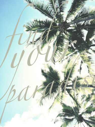 australia surf wave beach palm tree art tropical find your paradise quote