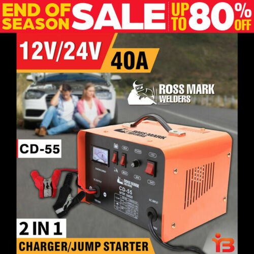NEW ROSSMARK 2IN1 Car Battery Charger Jump Starter 12 24V 40A ATV Boat Tractor  <br/> 1 YEAR WARRANTY