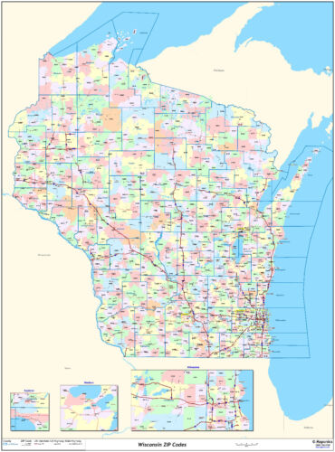 Wisconsin State Zipcode Laminated Wall Map