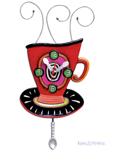 Colourful WAKE UP CUP Coffee Tea Designer Wall Clock by Allen Designs